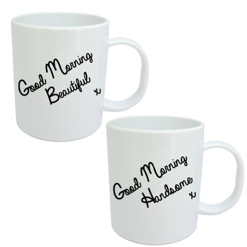 """Good Morning"" His And Hers Coffee Mugs (Set Of 2) - Mugsnkisses Range - Each Mug Comes In An Individual Giftbox"