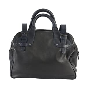 Kenneth Cole Leather Black Briefcase Messenger Shoulder Bag Handbag