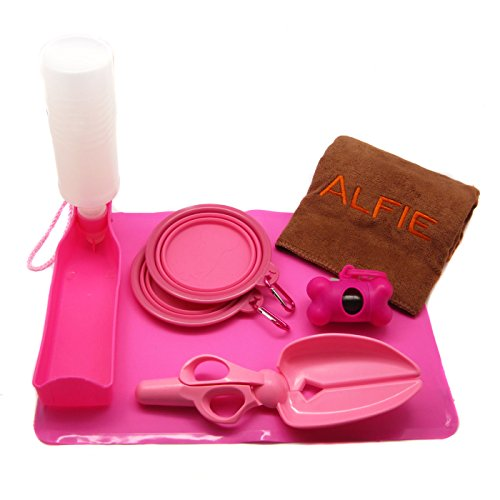 Alfie Pet By Petoga Couture - Elva Pet Travel Set With Travel Bowls, Microfiber Fast-Dry Towel, Water Bottle, Waste Bag Dispenser, Waste Scoop Pickup Tool And Silicone Place Mat - Color: Pink