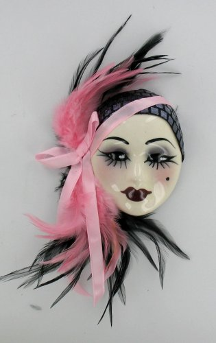 Porcelain Pink Purple Feather Lady Face Wall Art Mask