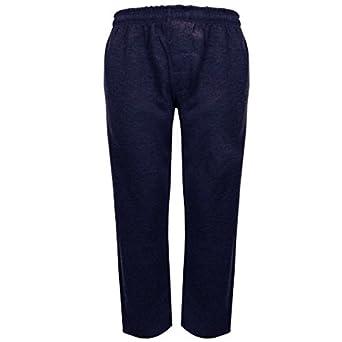 Mens Joggers Fleece Jogging Pants Trousers Poly Cotton Tracksuit Bottoms (M, Navy Open Bottom)