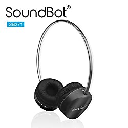 SoundBot SB271 Stereo Bluetooth 4.1 (Latest Version) Wireless Headphone for Music Streaming & Hands-Free Calling w/ 12Hrs Talk Time, 250Hrs Standby Time, Built-in Mic, Noise Reduction Ear-cup (BLACK)