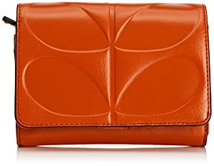 Orla Kiely Embossed Stem Leather Medium Folded Purse,Red,One Size