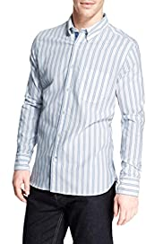 Pure Cotton Striped Oxford Shirt [T25-6073B-S]