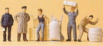 Loading Dock Workers (5) w/Crates & Hand Cart HO Scale Preiser Models