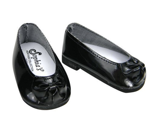 Black Patent Doll Shoes with Bow, Dress Shoes Fits 18 Inch American Girl Dolls, Black Patent Bow Shoe Slip Ons
