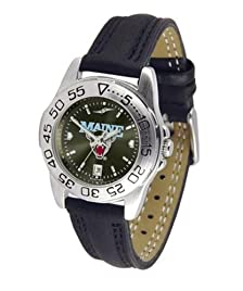 Maine Black Bears Ladies Leather Band Sports Watch