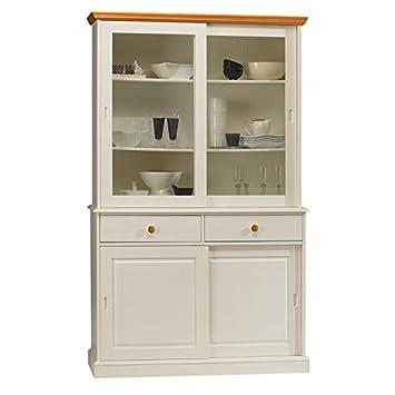 Belli mobili non cari-Vaisselier bianco e miele-libreria a 4 porte scorrevoli