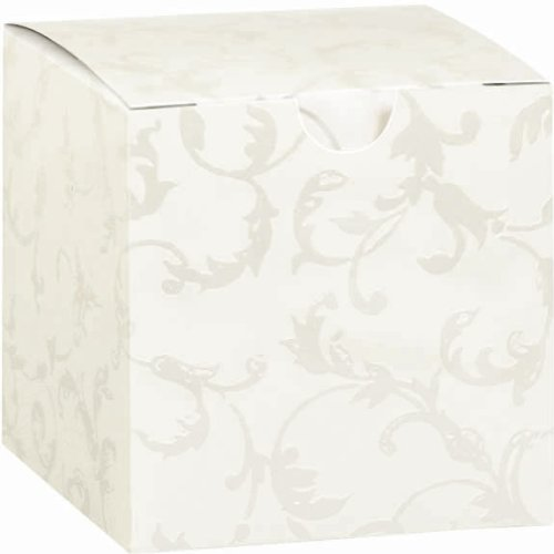 "Amscan Wedding Party Supply Lovely Embossed Cube Box, 2-1/4"", White"