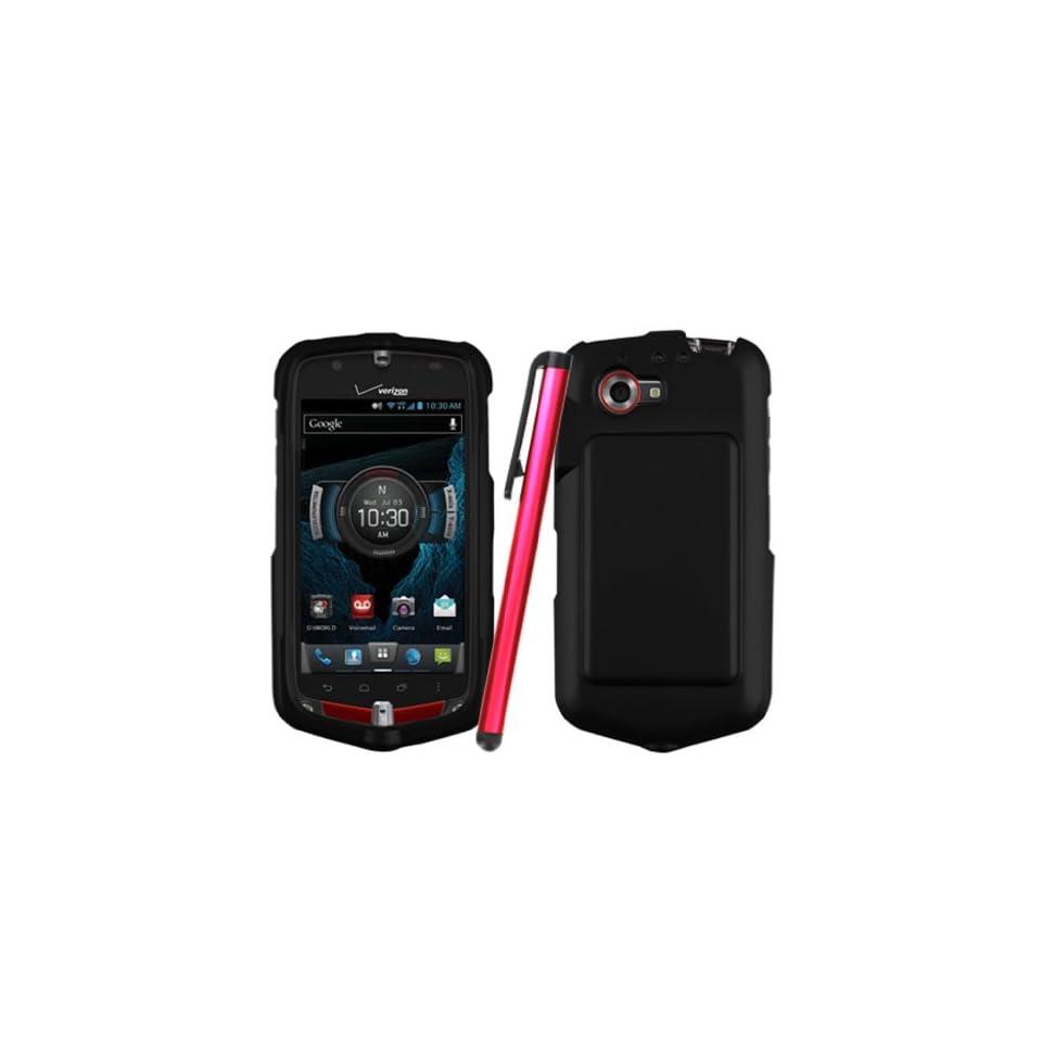 [ManiaGear] Verizon Casio Gzone C811 Black Rubberized Hard Case Shell + Stylus Pen Cell Phones & Accessories