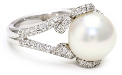TARA Pearls White South Sea 10x11mm Pearl Ring, Size 7