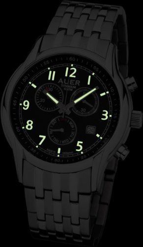 Urs Auer ZU-411 Titanium Chrono Chronograph for Him Made in Germany (Chrome Strap)