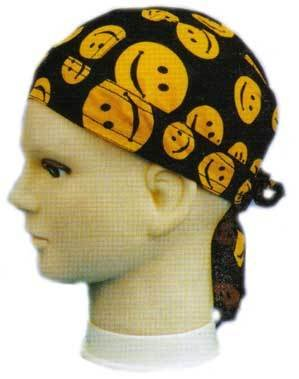 Smiley Face Yellow On Black DOO RAG Biker Premium Thread Count Bandana BAN-0092