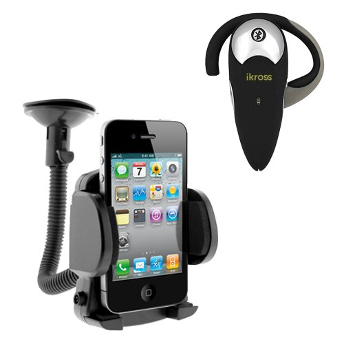 Ikross Bluetooth Headset + Car Mount Holder For Nokia Lumia 1320, Lumia 610, Lumia 635, Lumia Icon (929), Lumia 1520, Lumia 1020 Window Mobile Cell Phone