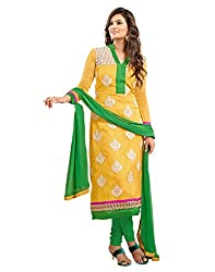 Surat Tex Yellow & White Color Party Wear Embroidered Chanderi & Net Un-Stitched Dress Material-I21DL6003