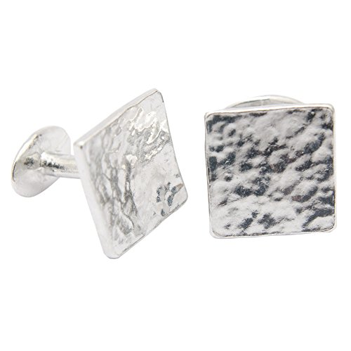 10th-Anniversary-Gift-for-Him-Square-Beaten-Pure-Tin-Cufflinks