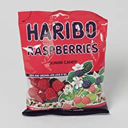 GUMMY CANDY HARIBO RASPBERRIES 4 OZ PEG BAG, Case Pack of 12