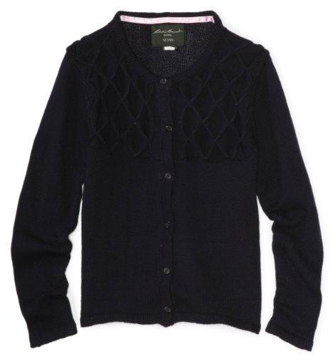 Eddie Bauer Big Girls' Cardigan Sweater with Diamond Yoke, Navy, 10/12