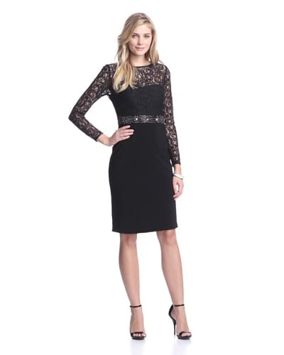 JS Boutique Women's Lace Dress with Embellished Waist