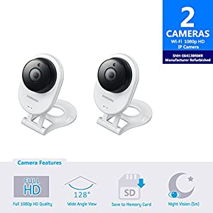 Samsung SNH-E6413BMR SmartCam HD WiFi IP Camera with 16GB microSD Card (Manufacturer Refurbished) Bundle Double Pack