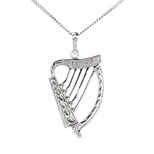 Large Celtic Harp Pendant on a chain Double sided