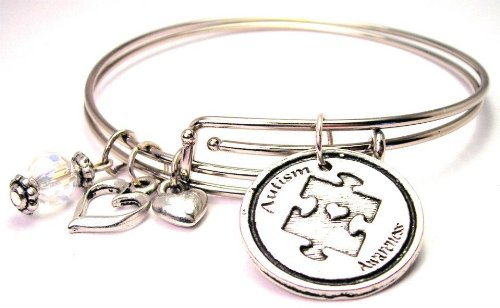Autism Awareness Adjustable Wire Bangle Charm