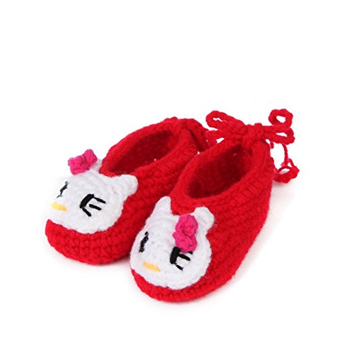 Soyagift Infant Handmade Crochet Knitted lovely Cat wool soft-soled shoes