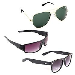 Elligator Stylish Aviator Gold Green And Purple Nightvision With Black Wayfarer Sunglasses Combo ( Set of 3 )