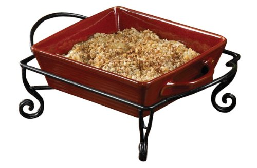 Aspen Red Ceramic Stoneware Square Baker 8x8 Dish County Home Kitchen Bakeware