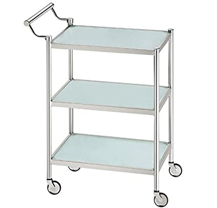 Stainless Steel Serving Trolley - Mobile Hostess Cart - Shelves Made From Frosted Safety Glass