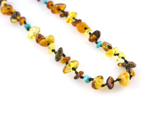 Knotted Multi Amber & Turquoise Chip Necklace