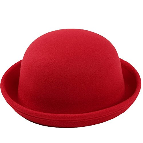TININNA inverno caldo Vintage Bombetta Derby Berretto Rotolo Brim Secchio Cappello Cappellino di tela per i bambini Rosso