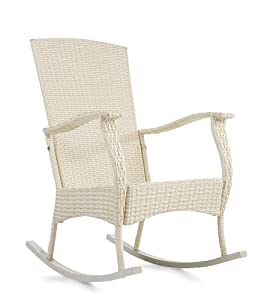 outdoor or indoor wicker rocking chair with steel frame in antique white patio. Black Bedroom Furniture Sets. Home Design Ideas