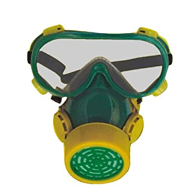 SMARSTAR Single Cartridge Industrial Gas Chemical Anti-Dust Paint Respirator Mask+Glasses/Goggles Set - Yellow and Green