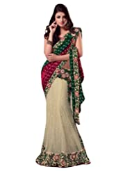 Dealtz Fashion Bridal Embroidery Saree With Unstitch Blouse