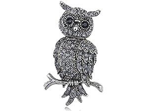 Sparkling Silver Tone Clear Crystal Rhinestone Perch Owl Bird Branch Pin Brooch