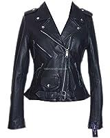 Ladies Brando Black Women's New Biker Style Fashion Real Cowhide Leather Jacket