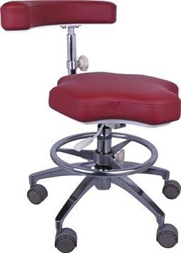 Bestdental Medical-Sgabello da ufficio, altezza regolabile, Mobile da assistente Sgabello Lap Euipment ecopelle per sedia Rosso