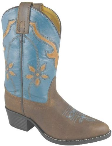Smoky Mountain 3229 Girl'S Cactus Flower Western Boot Brown/Turquoise Child'S 9 Regular