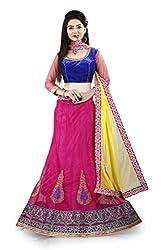 Lehenga Choli Pink Colour Free Size Fully Stitched Womens Net Lehenga by Pushpila