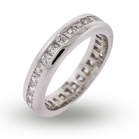 Alisons Princess Cut Channel Set CZ Eternity Band Size 9 (Sizes 5 6 7 8 9 Available)