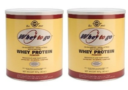 Whey to Go Protein Powder Natural Vanilla Bean Flavor By Solgar - 32 Ounces-2 Cans