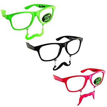 "Sun-Staches ""The Original Mustache Sunglasses"" Catch eyes. Turn heads. BE THE PARTY. (3 Clear Lenses Set)"