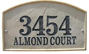 Qualarc, Inc. Crushed Stone Address Plaque, Riviera Arch, Slate RIV-4602-SL