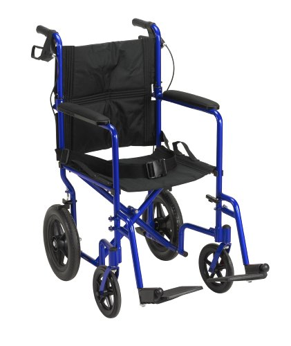 Drive Medical EXP19LTBL Lightweight Expedition Transport Wheelchair Blue with Hand Brakes, Blue, Size 19