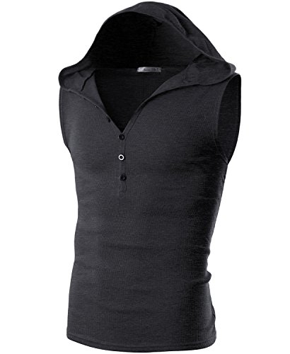 Ohoo Mens Slim Fit Hooded Sleeveless Hoodie Henley Button Ribbed Tank Top /DCT008-CHARCOAL-L