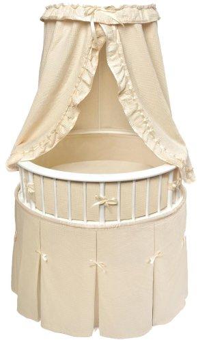 Badger Basket Elite Oval Baby Bassinet, White with Ecru Waffle