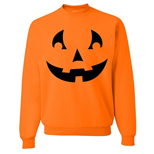 Jack O' Lantern Pumpkin (Style 4) Crewneck Sweatshirt By Dsc - Safety Orange Large front-580059
