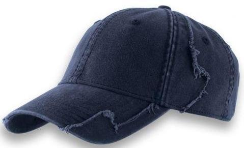 Baseball Cap aus gewaschener Chino Baumwolle in Vintage ( Destroyed / Distressed ) Optik mit ausgefranster Patchwork Struktur in Navy ( Einheitsgrösse )
