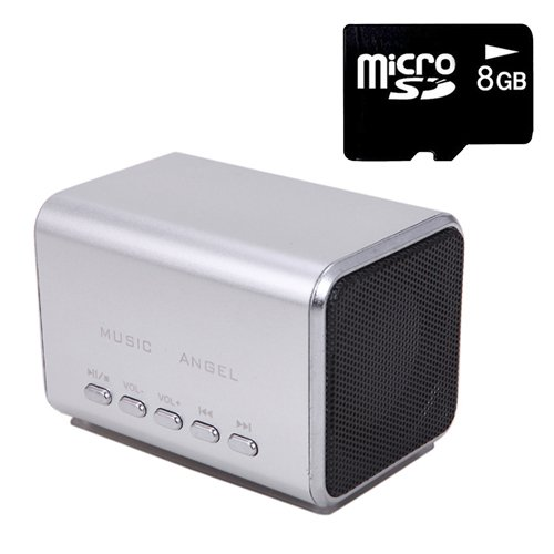 Hde Music Angel Portable Party Mini Speaker 150 Hz - 18000 Hz W/ Mini Sd Card (Silver)
